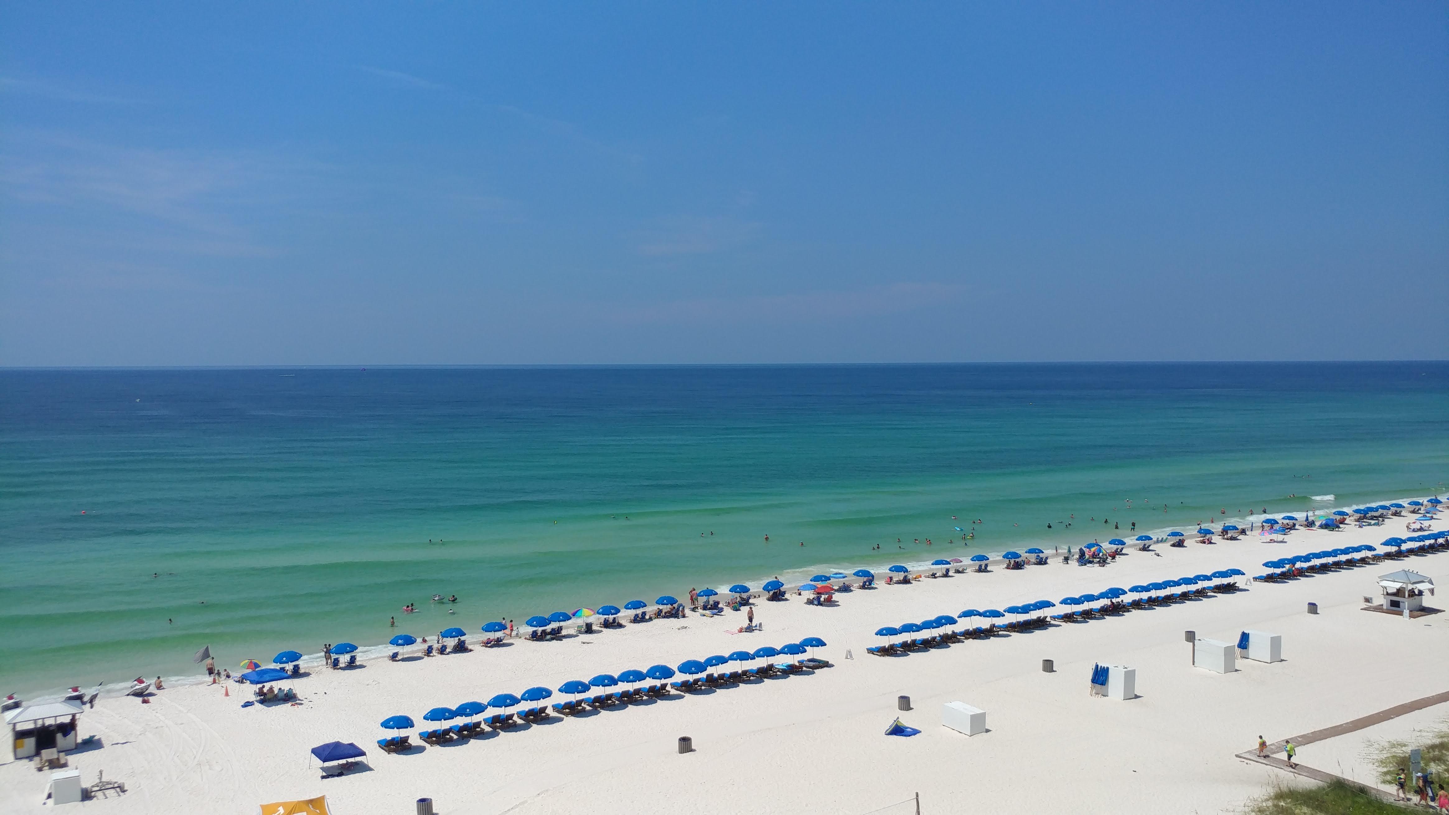 Aerial view of white sand beaches