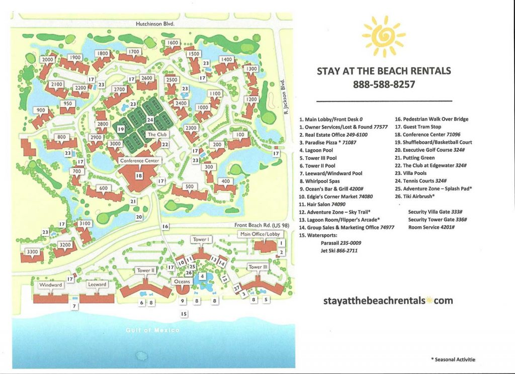 Property map of Edgewater Beach Resort in Panama City Beach, Florida, showing buildings and amenities.
