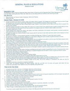 Rules and regulations at Edgewater Beach Resort in Panama City Beach, Florida